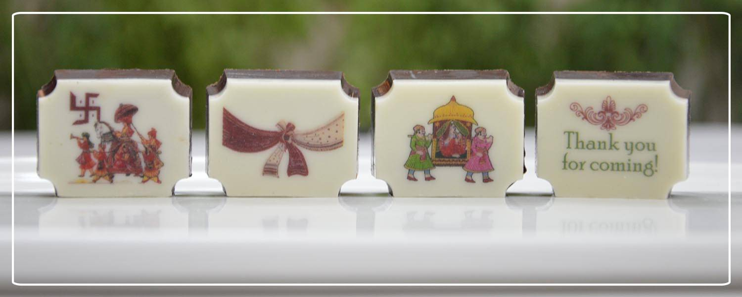 Printed chocolates as wedding favours