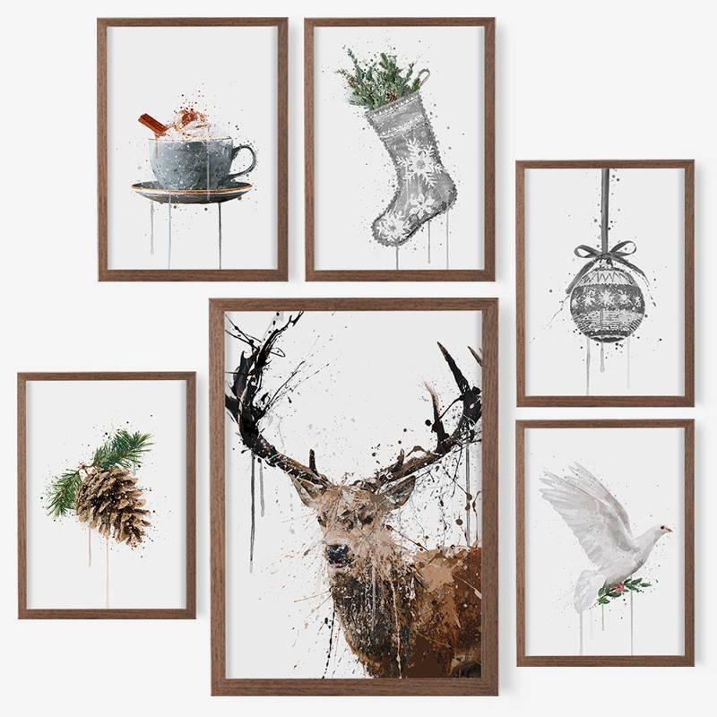Maple leaf splatter art wall print in an autumn living room