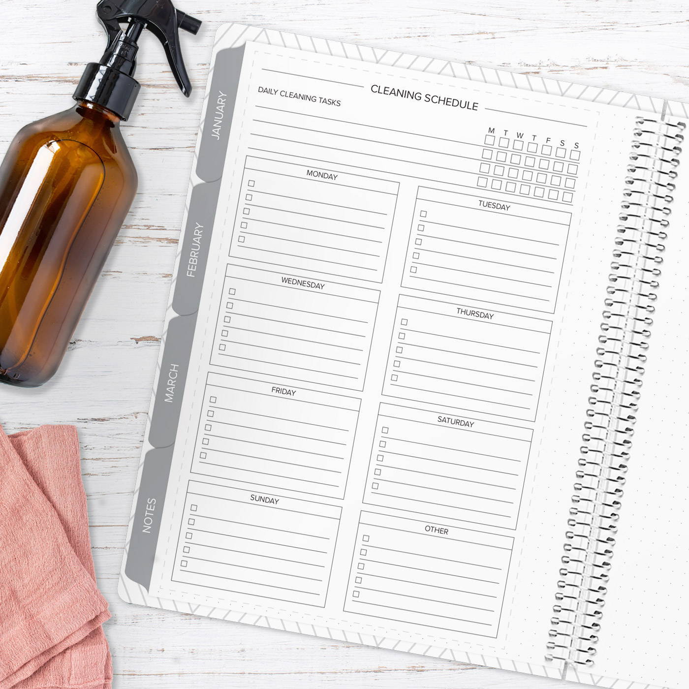 amplify planner cleaning schedule insert