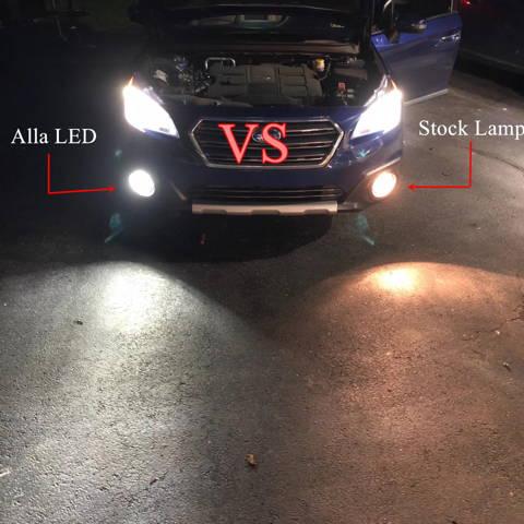 COB-72 H8 H11 LED Fog Light Bulbs 6500k White vs Incandescent Lamps