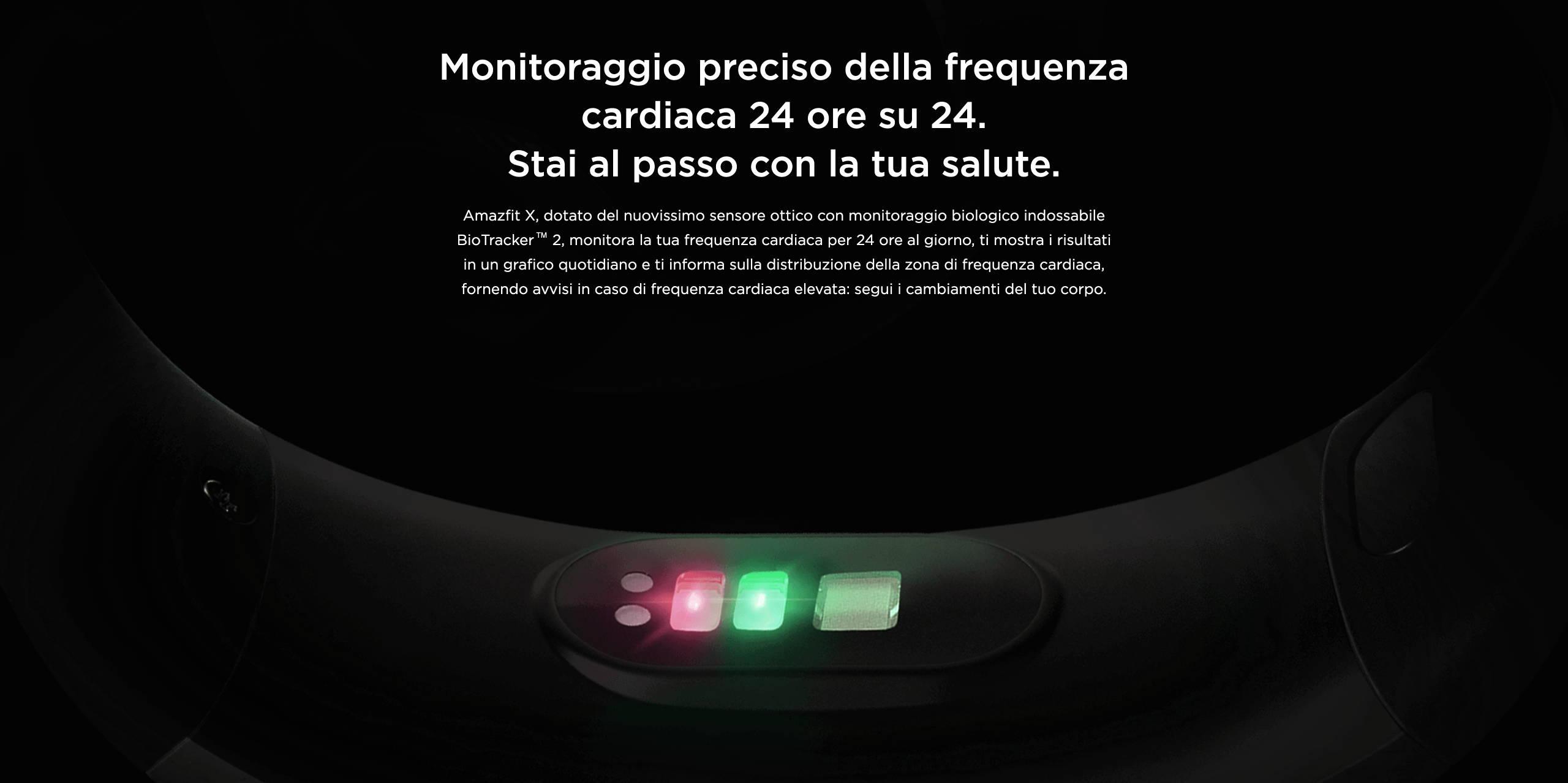 Amazfit X - Monitoraggio preciso della frequenza caediaca 24 ore su 24. Stai al passo con la tua salute.
