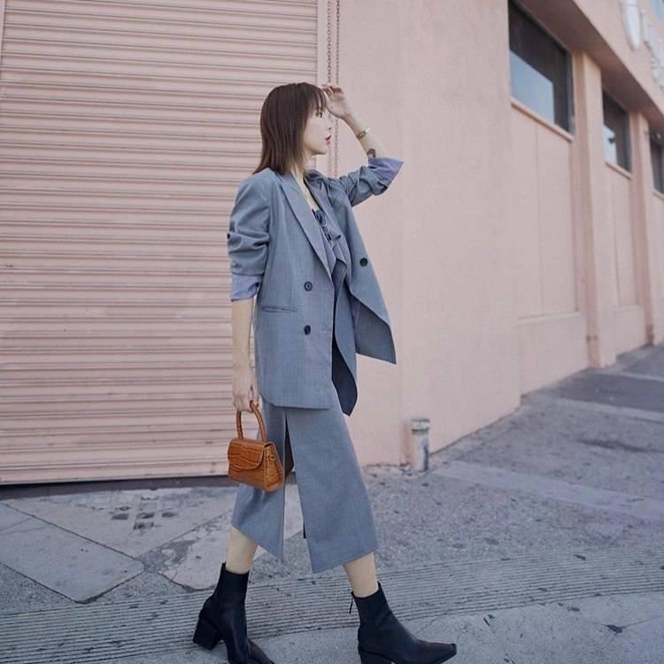 a woman is walking