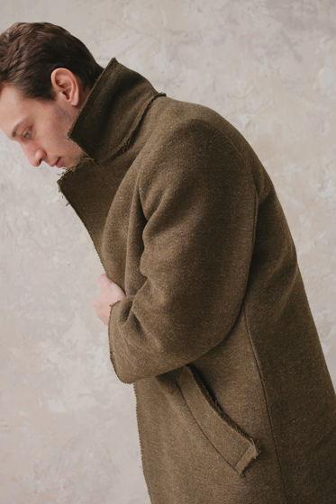 зимнее шерстяное пальто на хлопковой подкладке *хаки*
