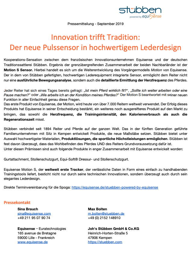 Press Release German Preview Equisense Stübben