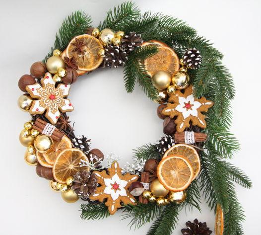 """Новогодний венок с искусственной хвоей, апельсинами и печеньками """"Цитрусовый"""""""