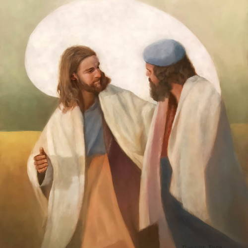 Painting of Jesus walking and speaking warmly with a friend.