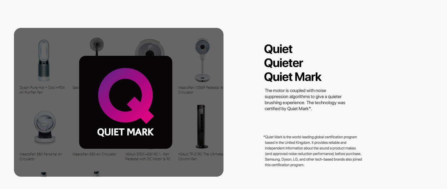 oclean X pro elite technology was certified by Quiet Mark