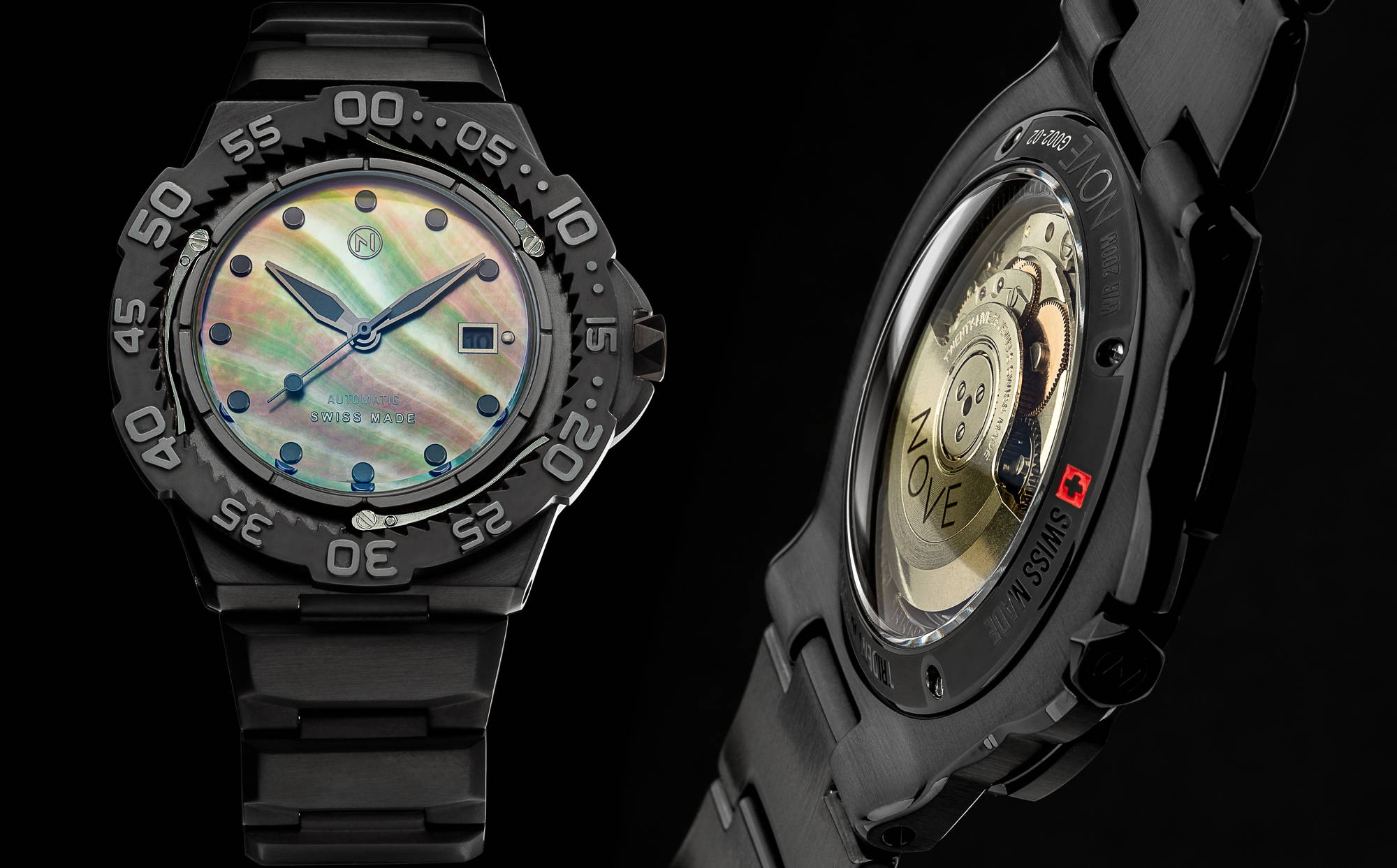Black slim trident automatic dive watch tool watch with beautiful Tahitian mother of pearl dial