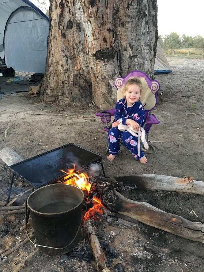 Having campfires while at the Marray River