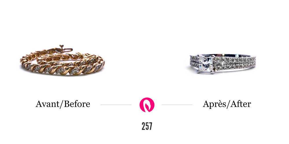 Transformation d'un bracelet en or et diamant en jonc éternité