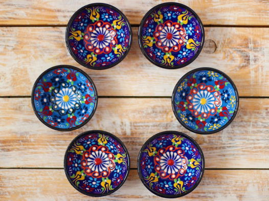 Набор синих керамических соусниц (6 шт)