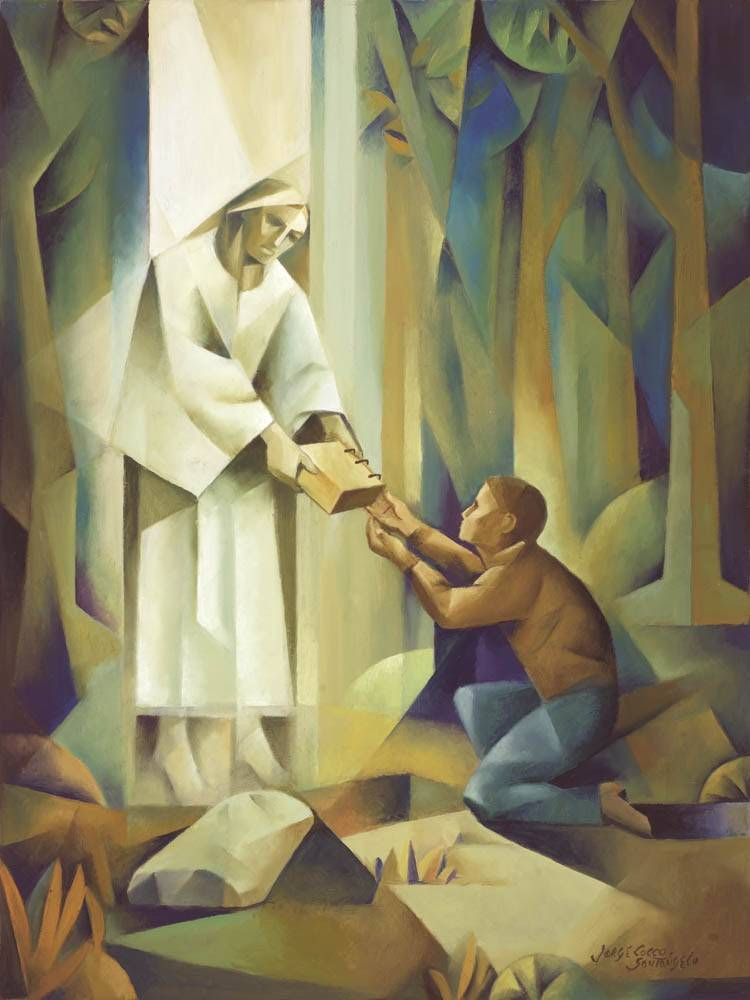 Modern LDS art painting of Joseph receiving the gold plates from the angel Moroni.