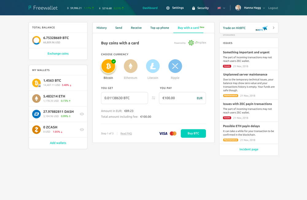 Buy BTC, ETH, XRP and LTC on Freewallet with a bank card