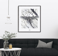 "Печатный постер ""Bird and branches"""