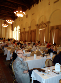 Attendees listen raptly in the Country Club Ballroom.