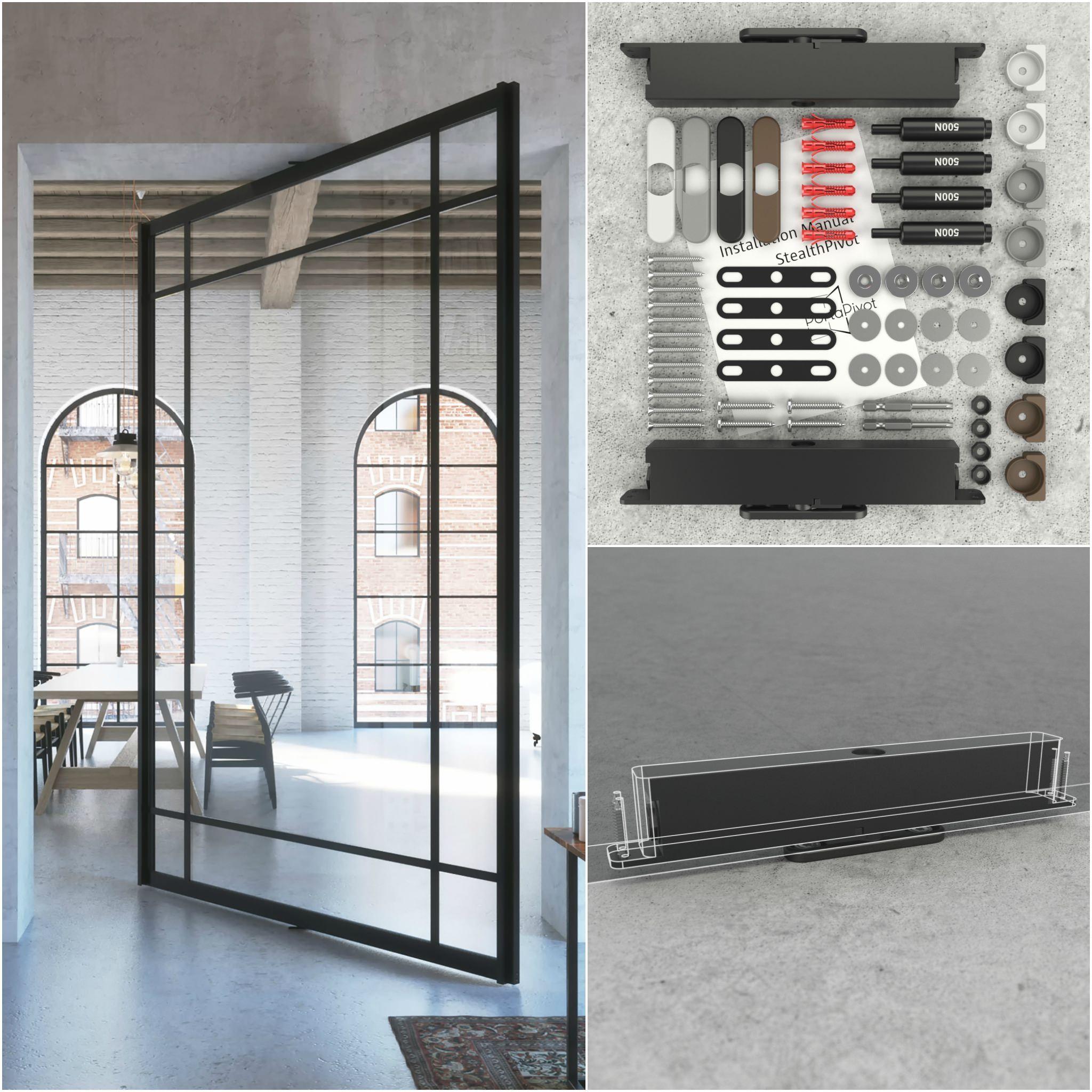 compact pivot door hinge system