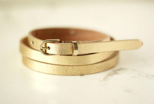 Кожаный узкий ремень (золотой)