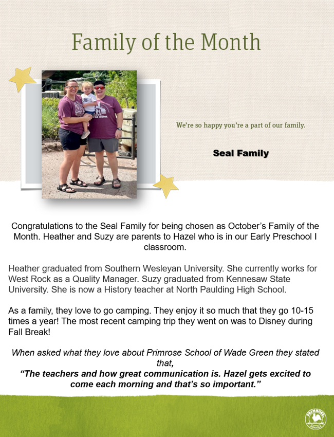 Congratulations to the Seal Family for being chosen as October's Family of the Month!