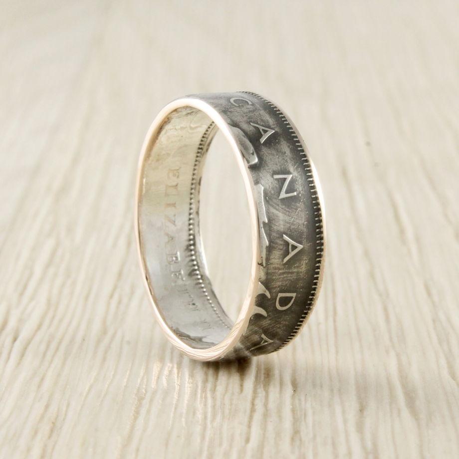 Кольцо из монеты (Канада) 25 центов, серебро