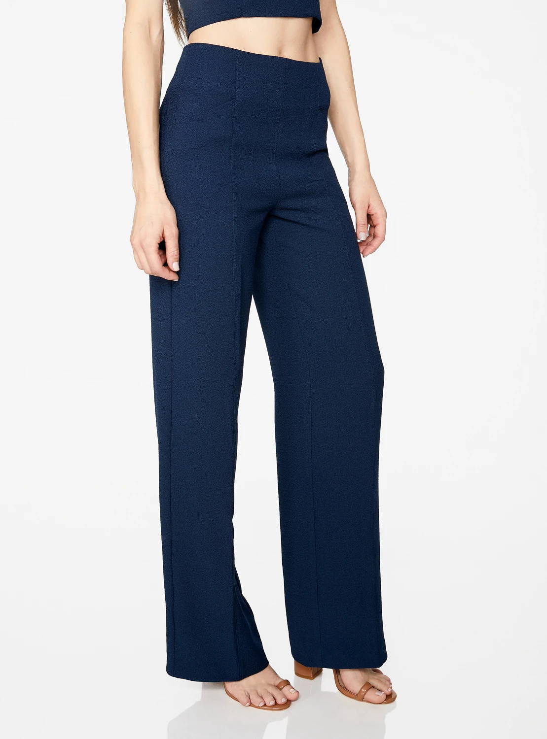 Indigo High-Waisted Relaxed Side Zip Trousers
