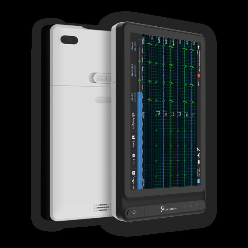 Tragbares 12-Kanal-EKG-Gerät für Krankenhäuser in Wellue mit Tablet-Design.
