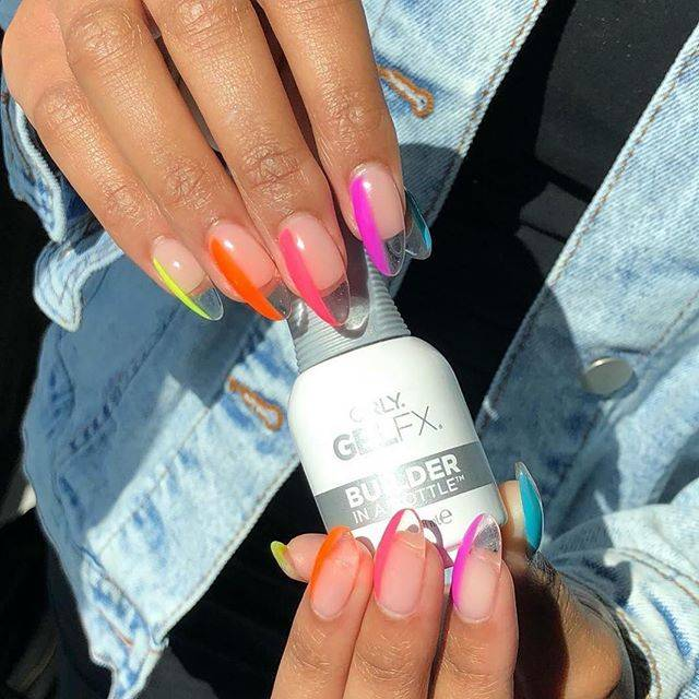 ORLY neon crystal clear manicure created with ORLY Builder In A Bottle