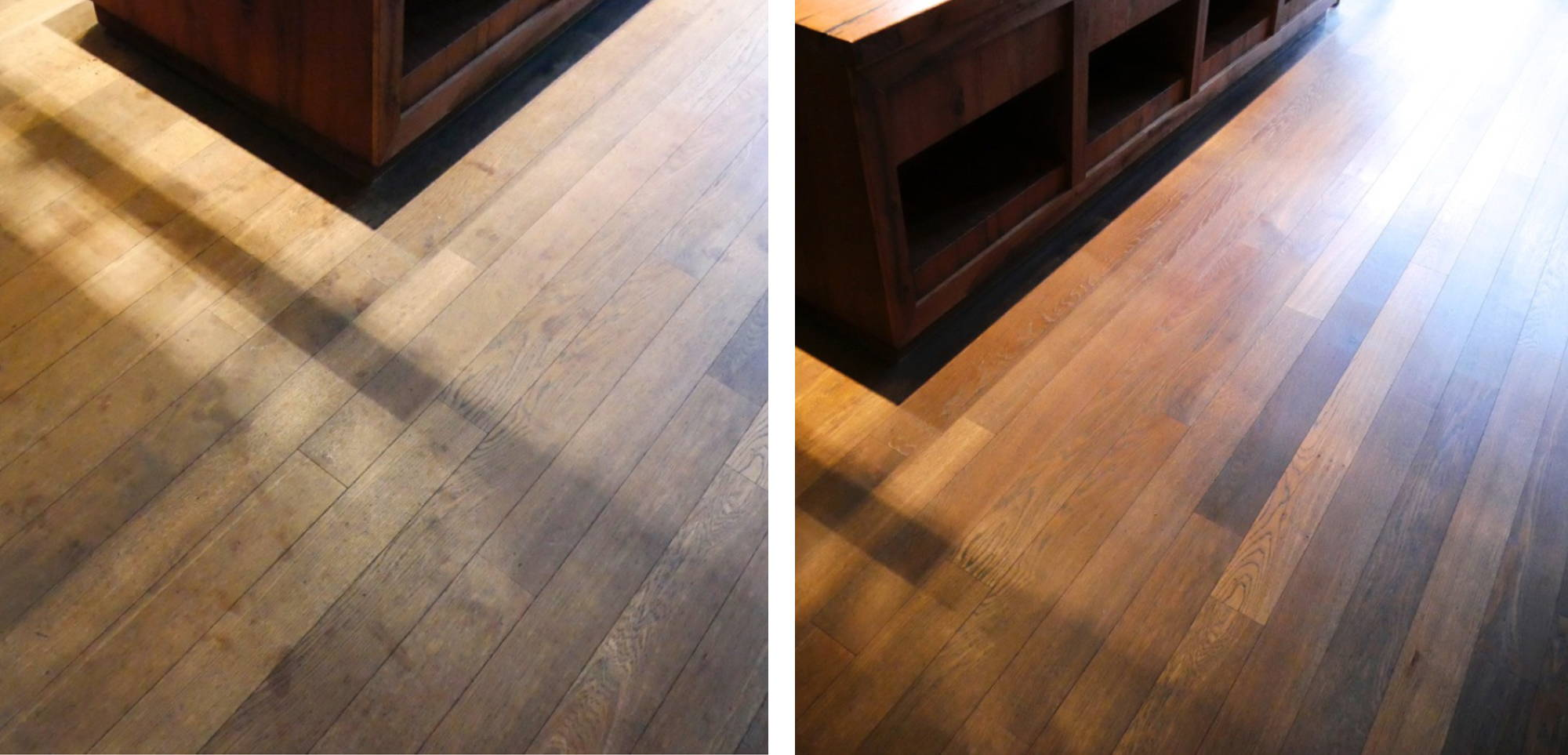 Before and after image of a restored Motel One floor