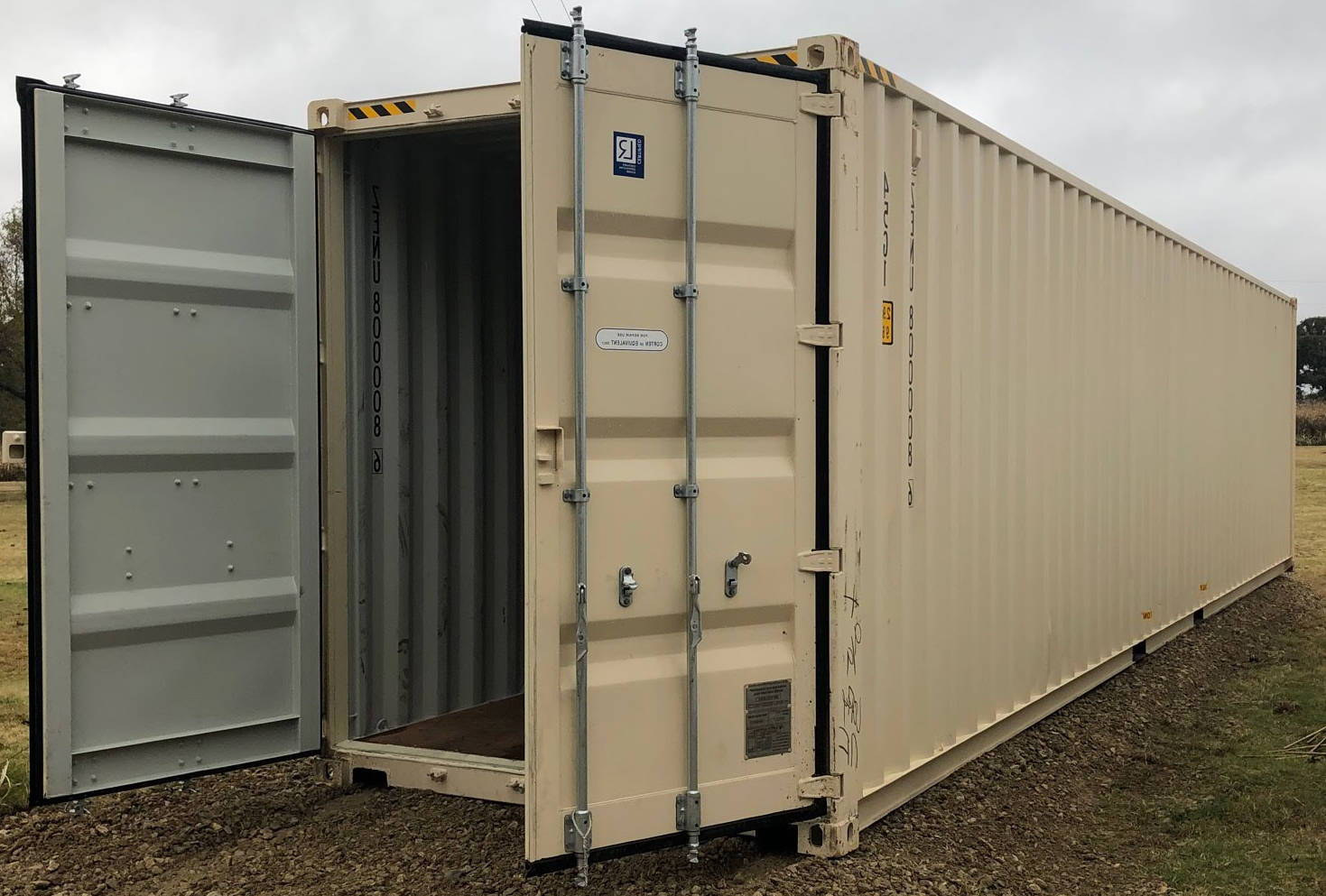 40 foot high cube shipping container side view with doors open