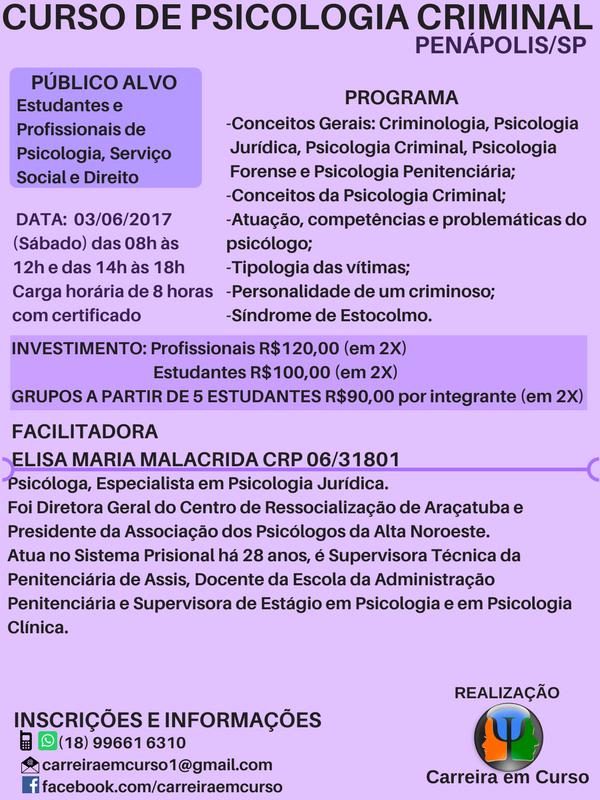 Curso de Psicologia Criminal - Penápolis