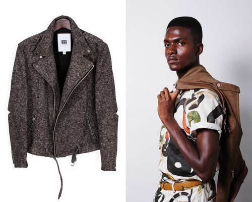 Recycled cotton and polyester tweed biker jacket and man wearing organic cotton serpent print short sleeve shirt with matching trousers from vegan menswear brand Brave Gentleman