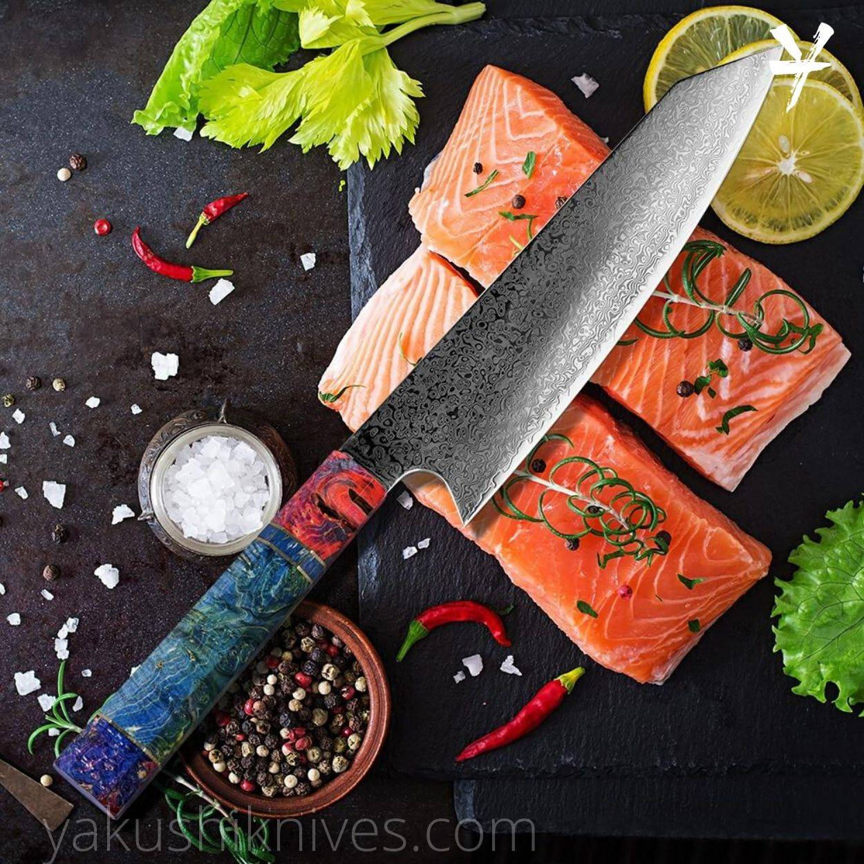 Japanese Chef Knife, Damascus Steel Knives, Damascus Chef Knife, 8inch Kitche Damascus Knife