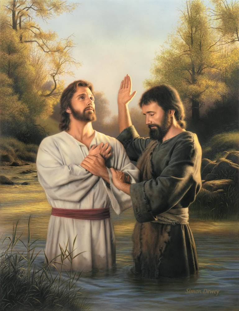LDS art painting of Jesus being baptized by John the Baptist.