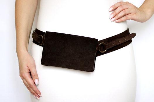 Темно-коричневая поясная замшевая сумка