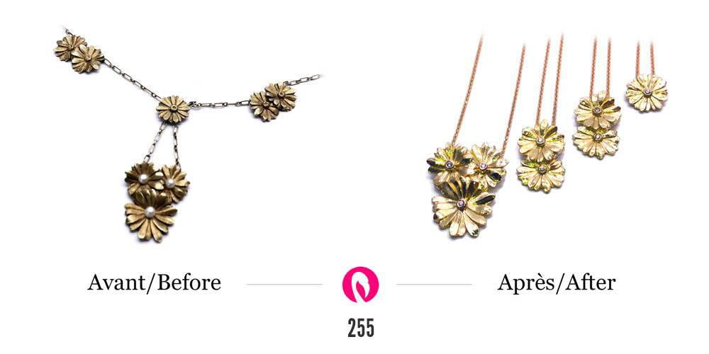 Transformation d'un collier en quatre pendentifs pour la famille avec diamants