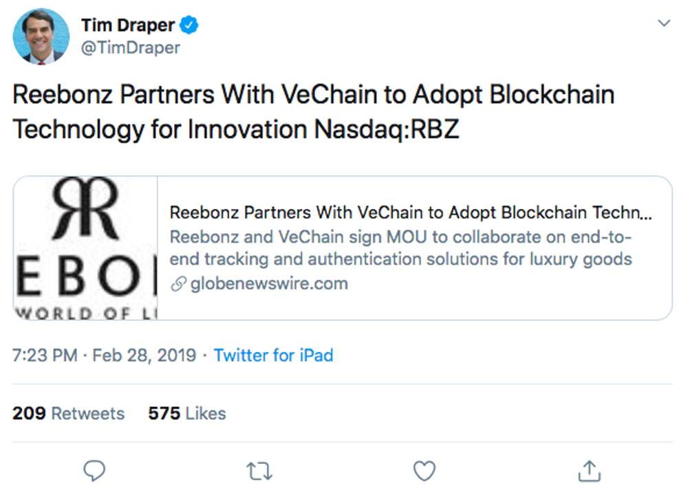 VeChain Tim Draper