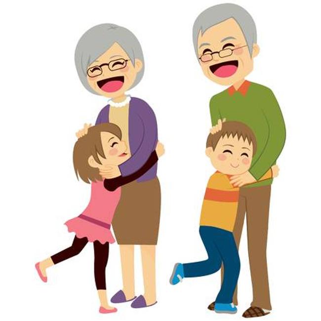A boy and a girl hug an elderly man and woman