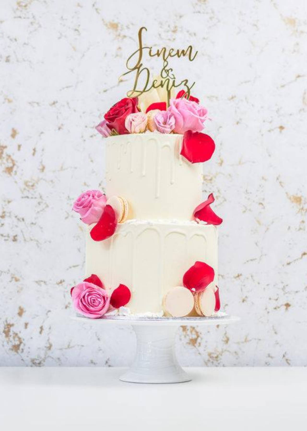 Two Tier Cake with White Chocolate Drip and Florals