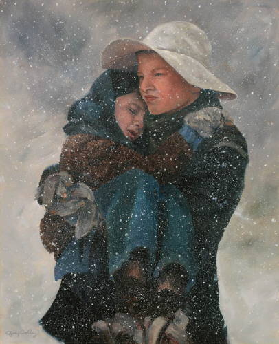 Painting of a pioneer teenager boy carrying his little brother through the snow.