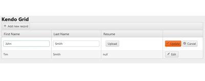Kendo file upload inside Kendo grid MVC in 6 steps