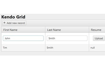 Kendo file upload inside Kendo grid MVC in 6 steps