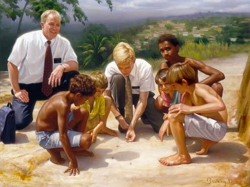 Two young missionaries teach a group of children.