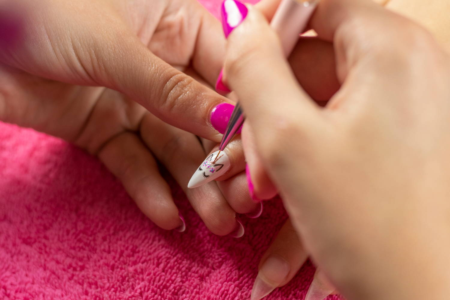Unicorn nail art detail being painted onto a nail using ORLY GelFX Rage gel polish
