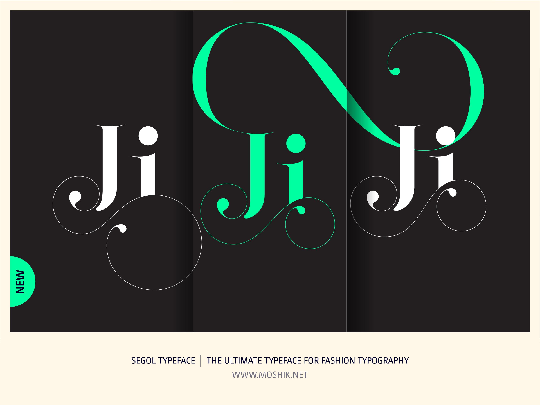 Segol Typeface, Fashion fonts, Fashion logos, Fashion typeface, new font, Moshik Nadav, sexy fonts, Ji, ligatures, swash, swashes