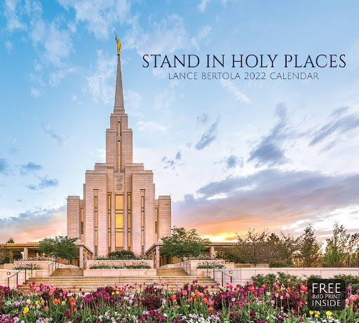 2022 Calendar cover featuring a photo of the Oquirrh Temple surrounded by flowers.