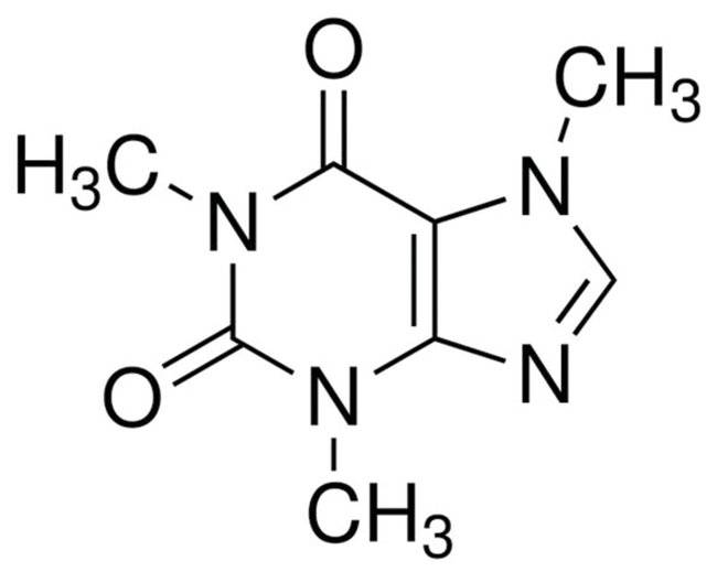 Chemical bond representation of caffeine anhydrous