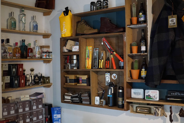 Shop display showing niwaki, filson, ciagrs and truefitt and hill