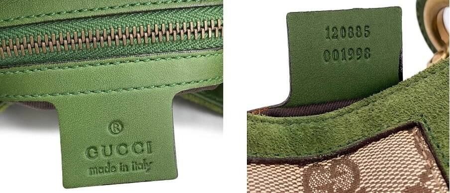 Serial Number Tag of a Green Gucci Bag