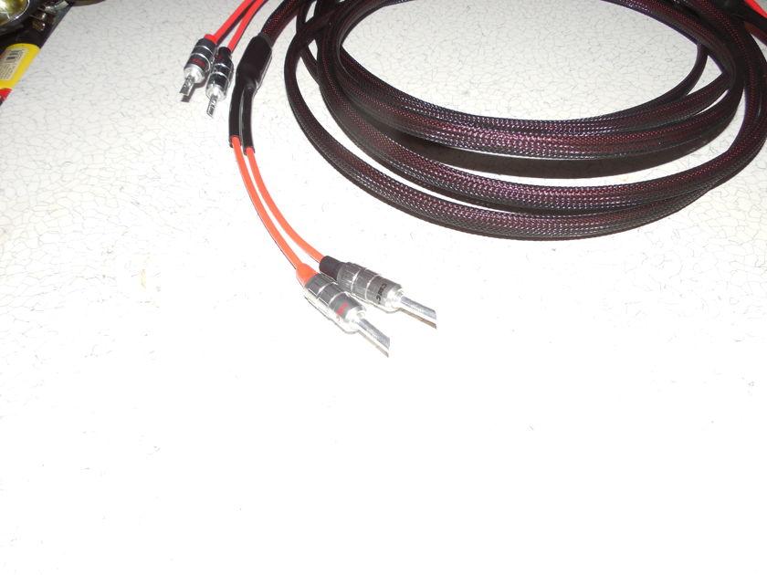 3  Meter Silver 10 AWG Speaker Cables DEMO SET SALE SPADES / BANANAS