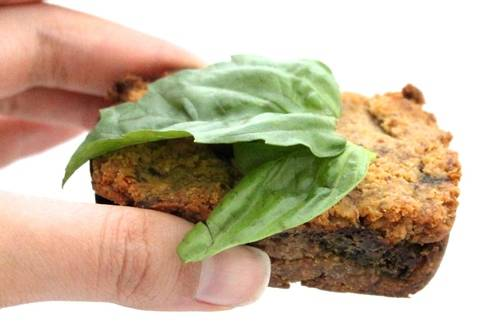 plant-based, gluten-free, dairy free, refined sugar free carrot flour and basil pesto mini loaf
