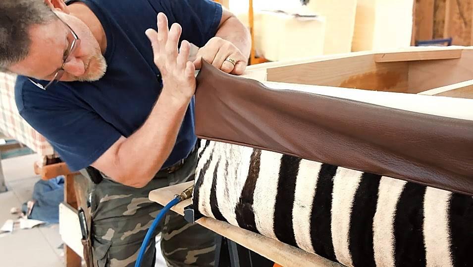 Zebra hide ottoman and zebra skin pillow